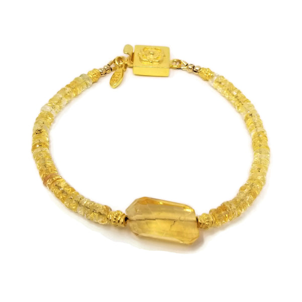 Citrine Gemstone Gold Bracelet