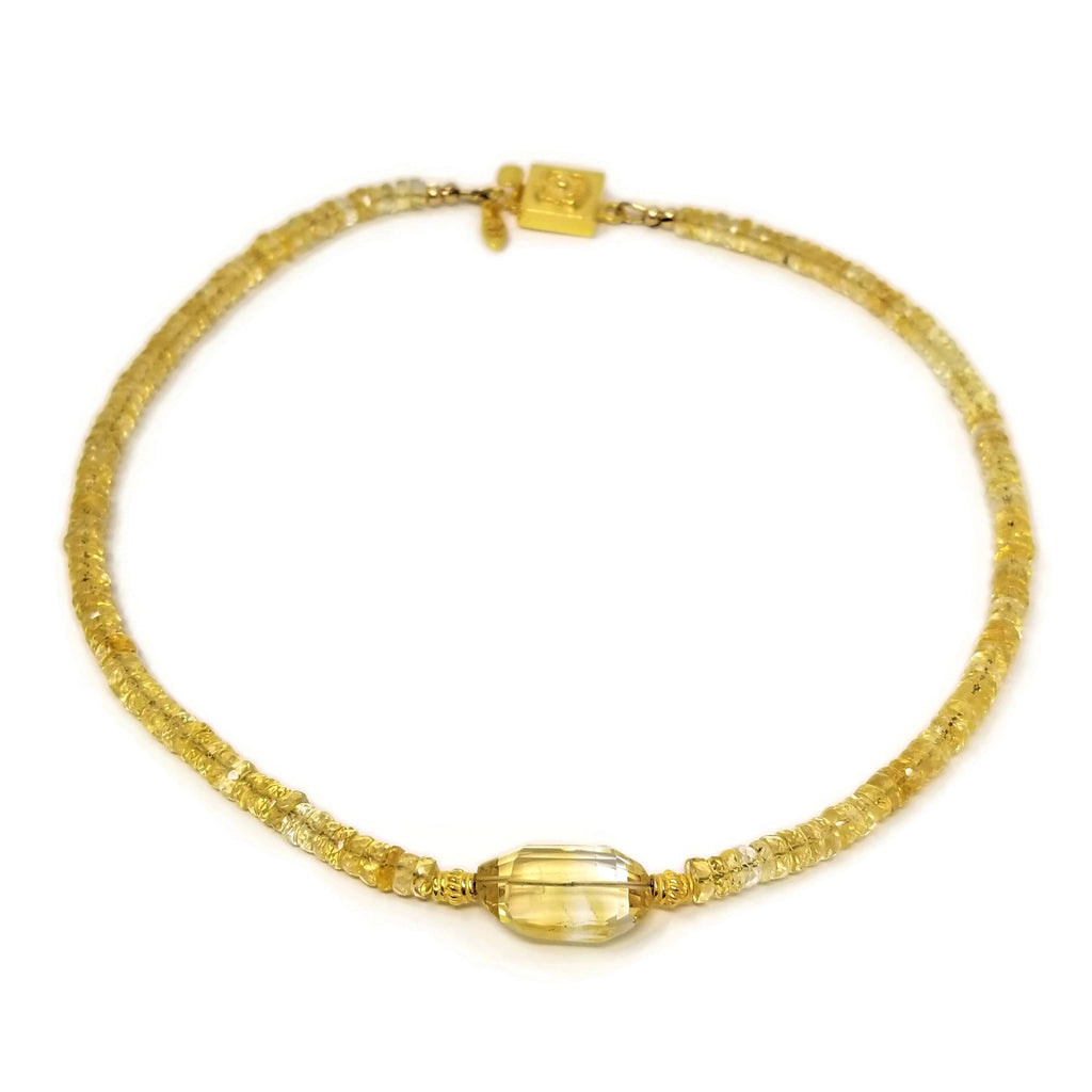 Citrine Gemstone Gold Choker Necklace