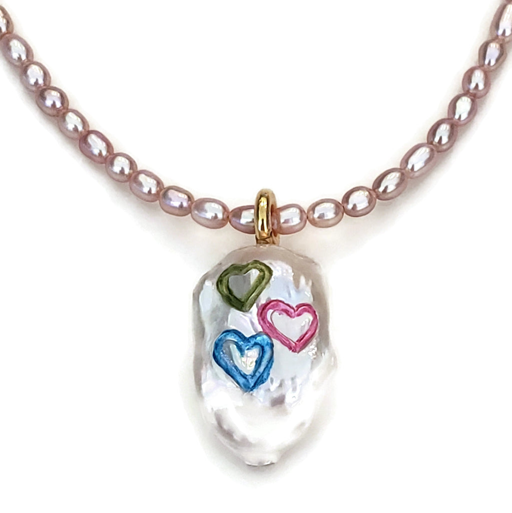 Colored Hearts Pearl Necklace