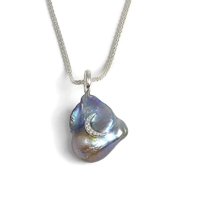 Baroque Pearl Diamond Moon Pendant Necklace