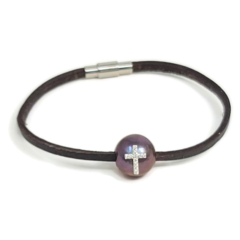 Diamond Cross Black Pearl & Leather Bracelet