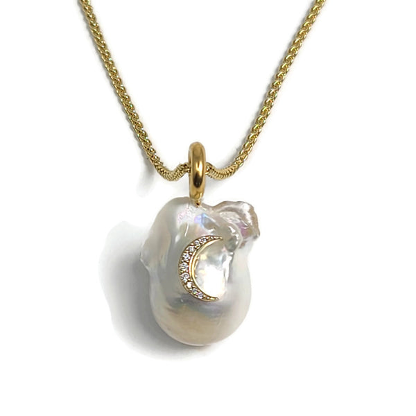 Baroque Pearl Diamond Moon Pendant