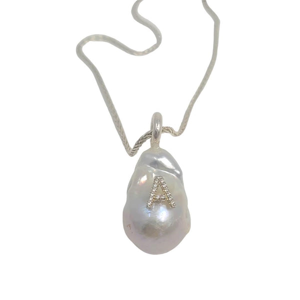 White Baroque Pearl Diamond Initial Pendant Necklace