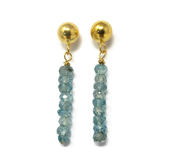 Blue Zircon Drop Earrings