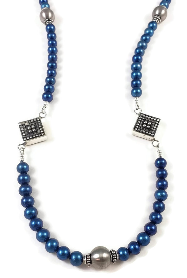 Elegance Long Blue Pearl Necklace
