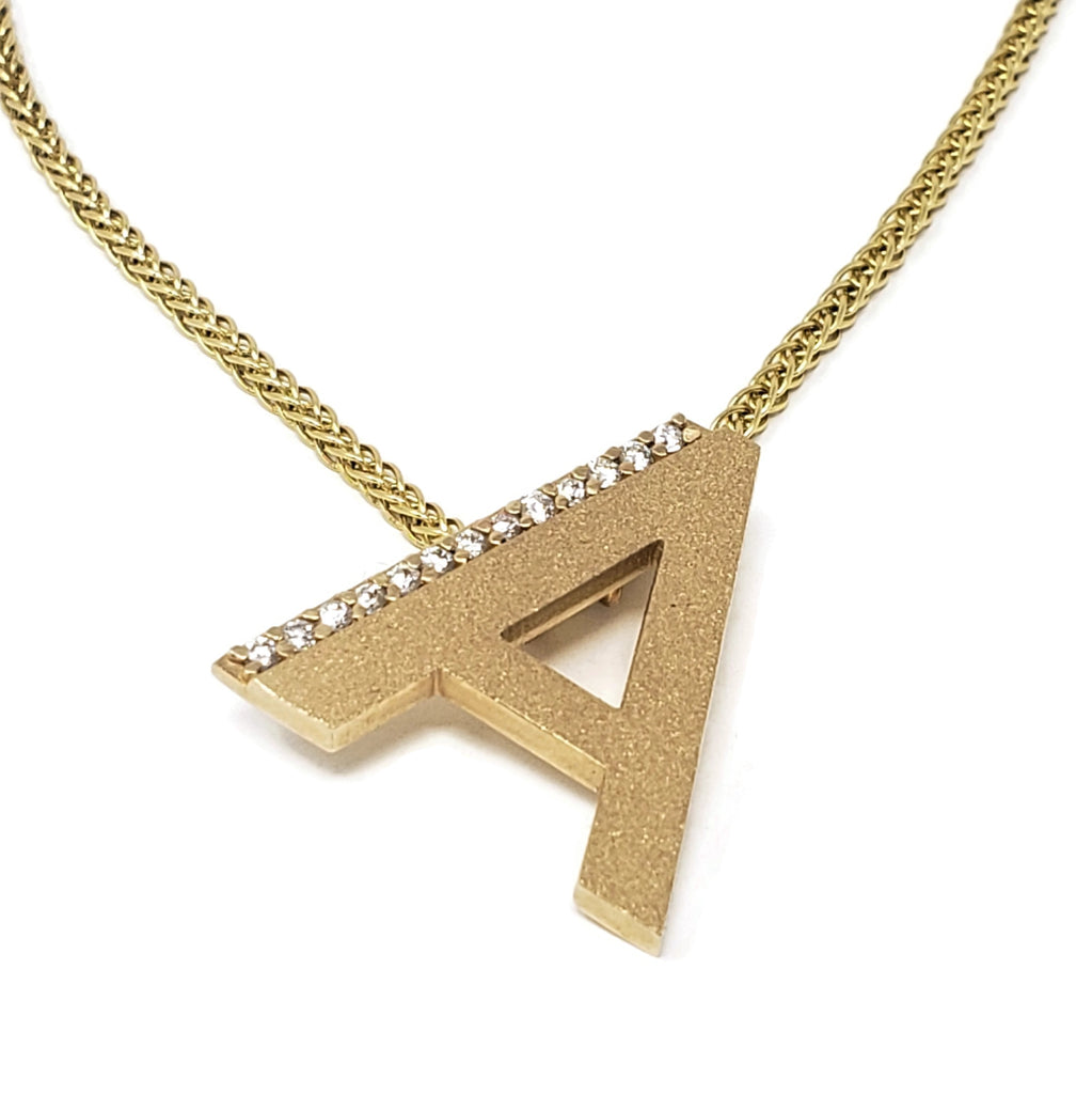 Diamond & 14K Gold Initial Pendant