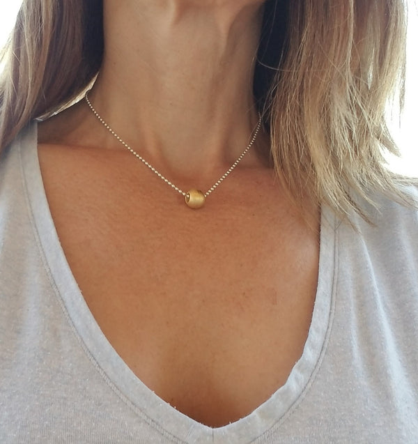 Gold Stainless Steel RB Bead Vermeil Ball Chain Necklace