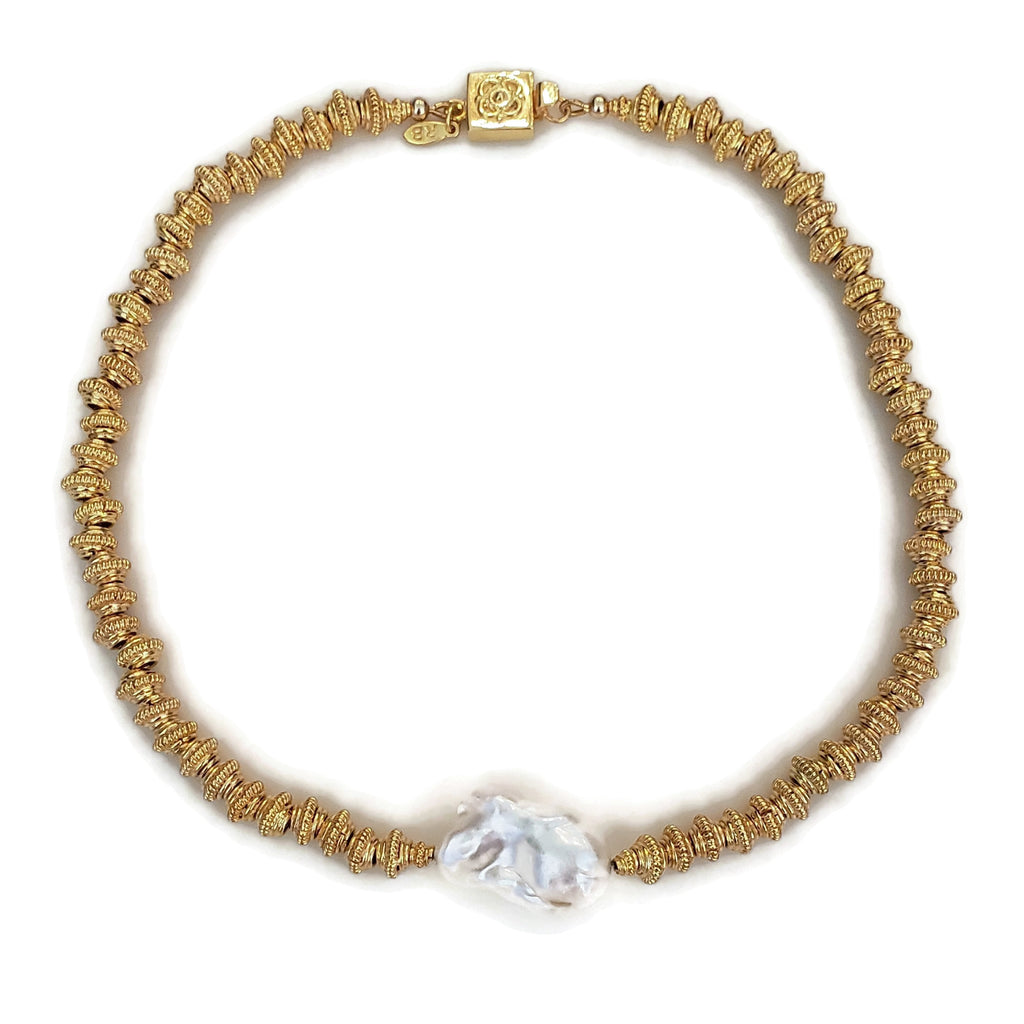 Gold Bead Baroque Pearl Necklace