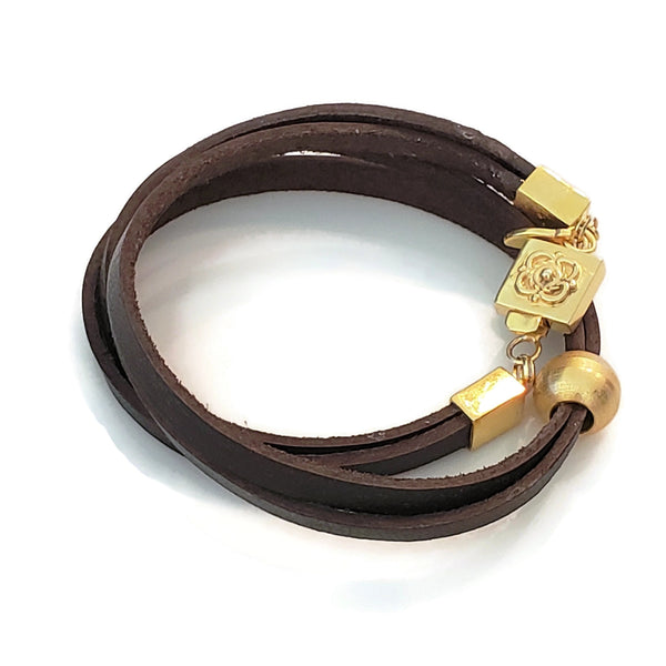 Brown Leather & Gold Bead Wrap Bracelet