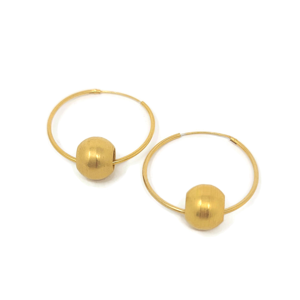 RB Gold Ball Gold Hoop Earrings