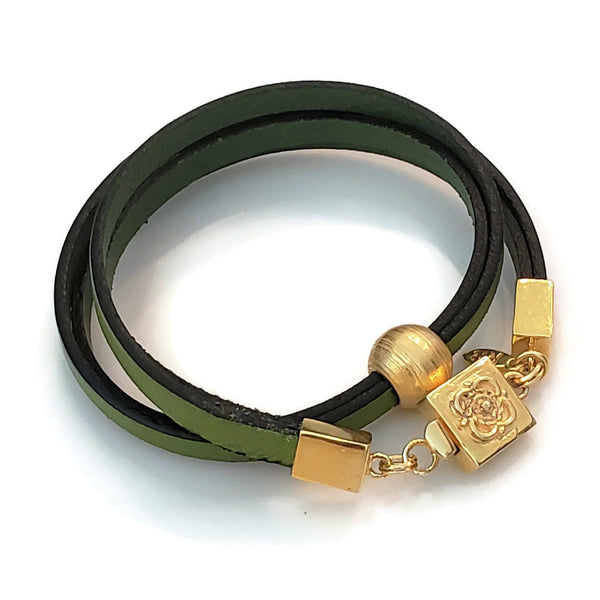 Green Leather & Gold Bead Wrap Bracelet