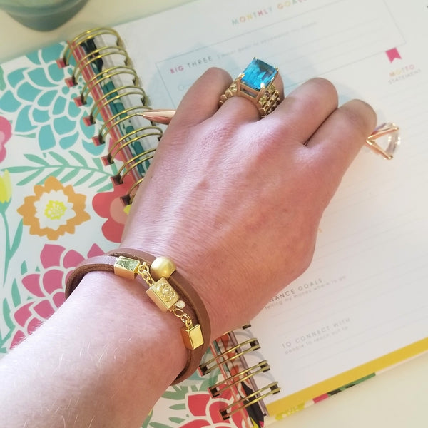 Tan Leather & Gold Bead Wrap Bracelet