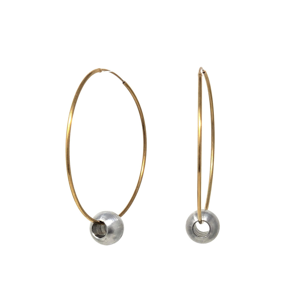 Ball Gold Large Hoop Earrings