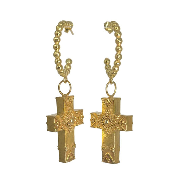 True Grit Gold Hoop Cross Earrings