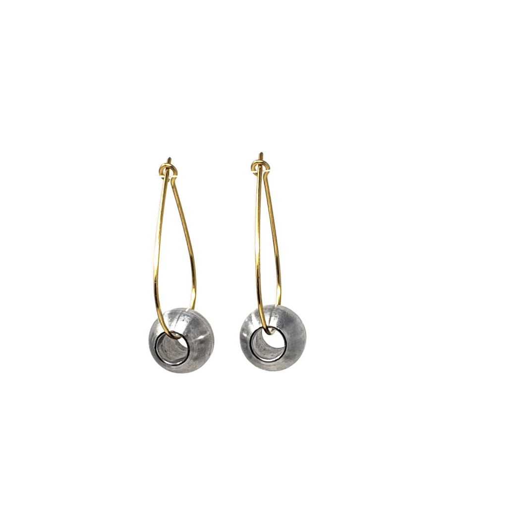 RB Ball Tear Drop Gold Hoop Earrings