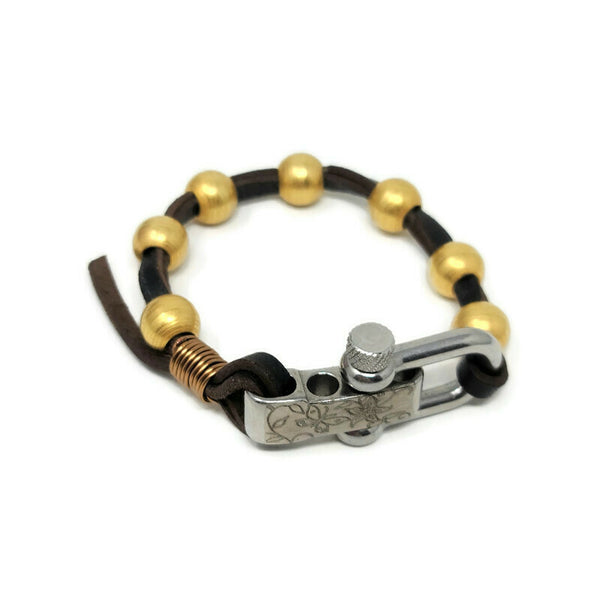 Leather & 18K Gold Steel Bracelet