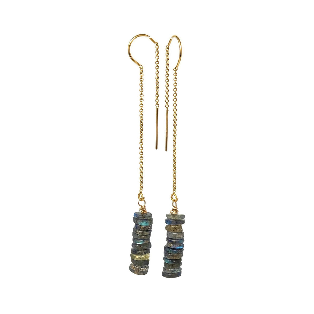 Labradorite Threader Earrings