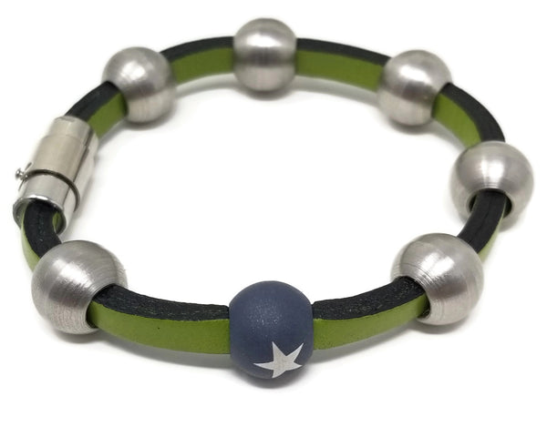Green Leather & Steel Stacking Bracelets