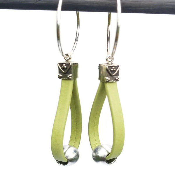 Lime Green Leather Sterling Silver Hoop Earrings
