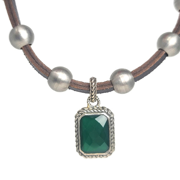 Green Onyx Pendant Stainless Steel & Leather Necklace