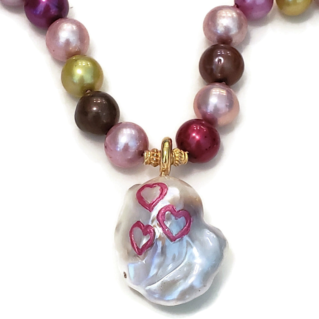 Pink Hearts Pearl Necklace