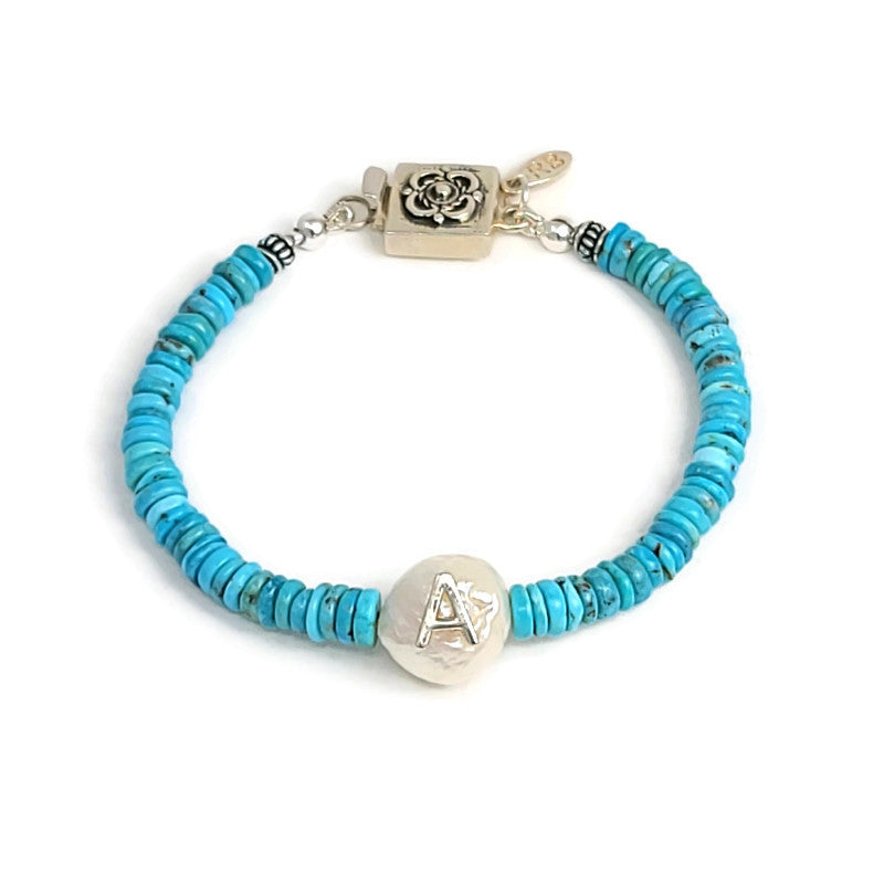 Initial Pearl & Turquoise Bracelet