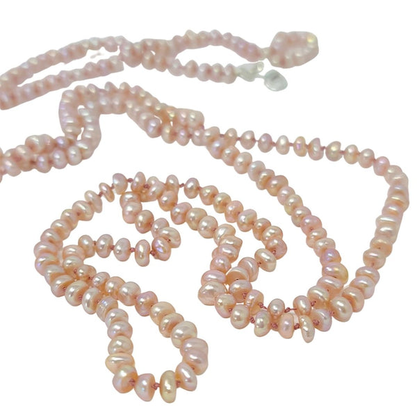 Knotted Tiny Pearl Long Strand Necklace