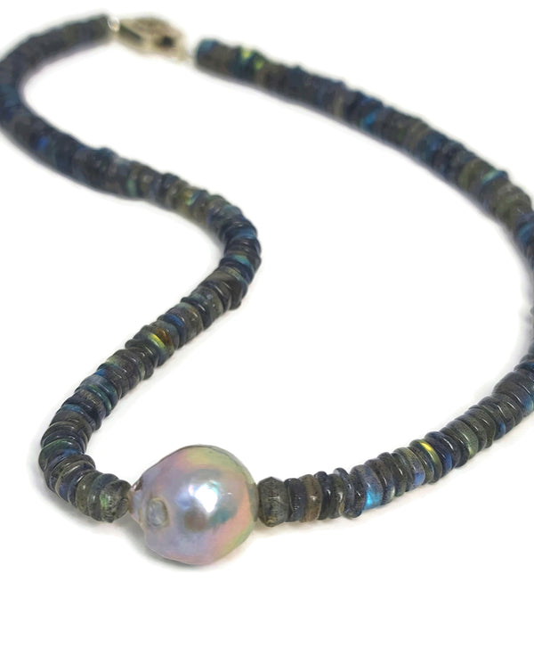 Labradorite Baroque Pearl Necklace