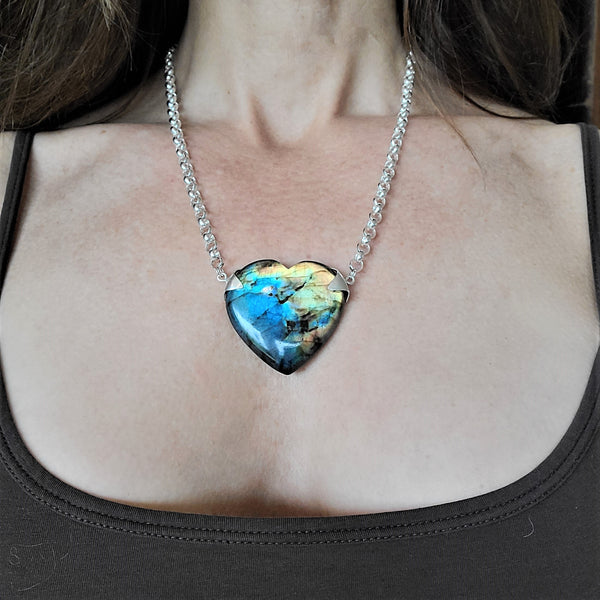 Labradorite Heart Pendant Necklace