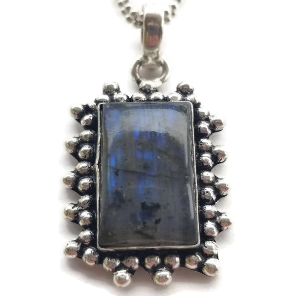 Labradorite Pendant Ball Chain Necklace
