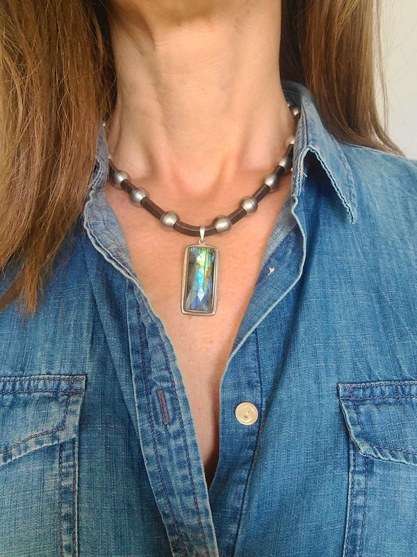 Labradorite & Stainless Steel & Leather Necklace