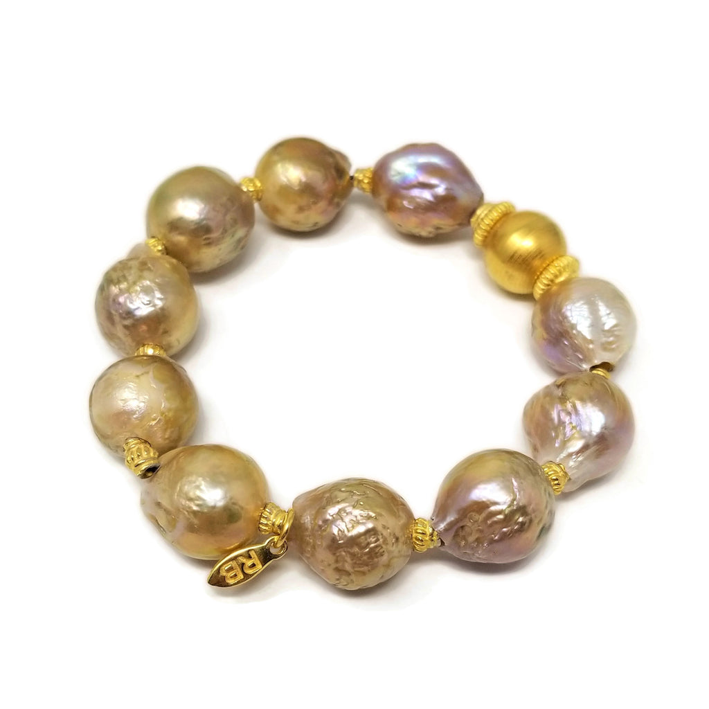 Edison Pearl Gold Stretch Bracelet