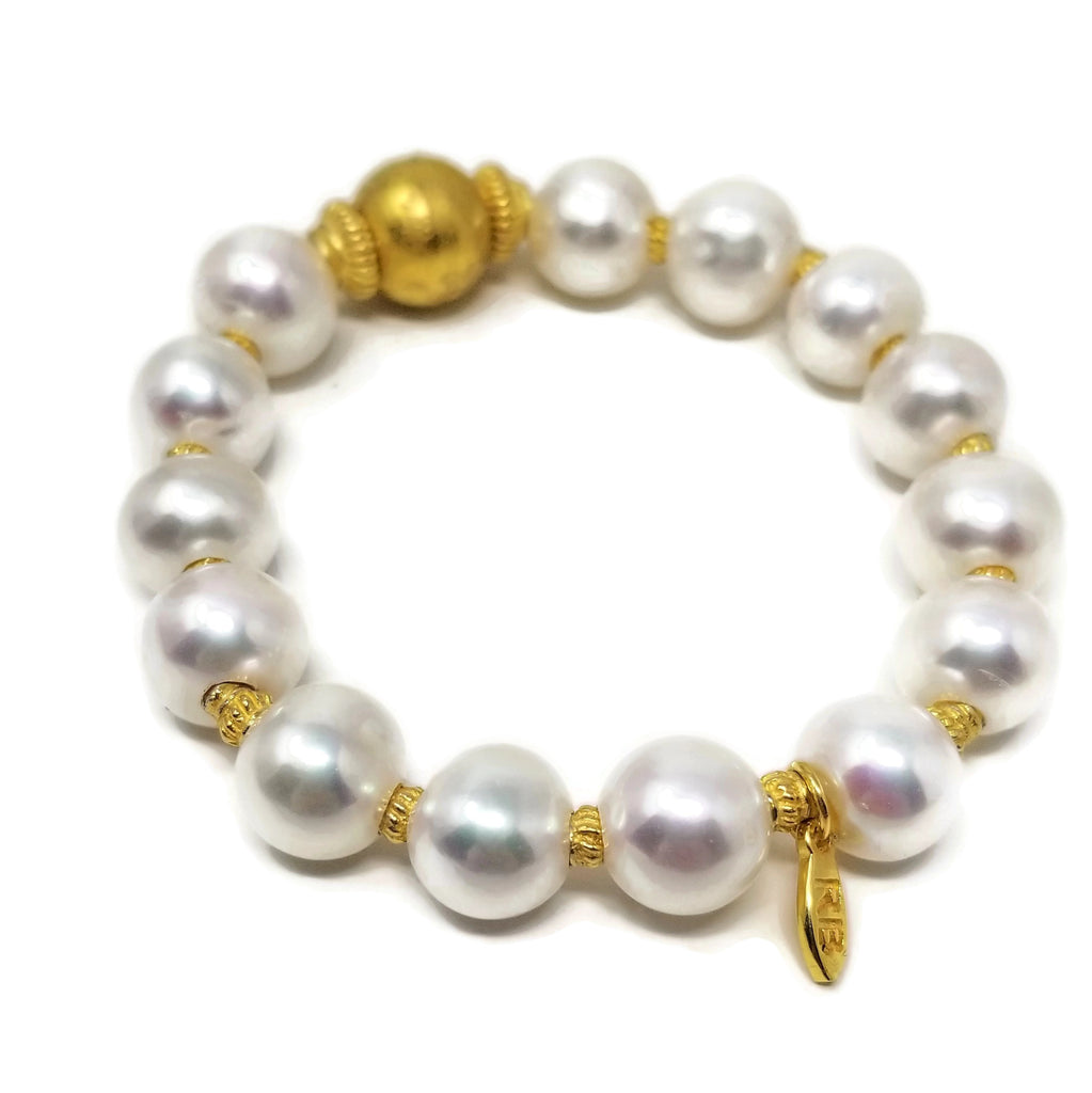 Edison White Pearl & Gold Stretch Bracelet