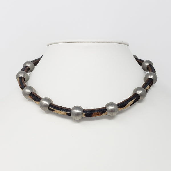 Leopard Print Leather & Steel Necklace