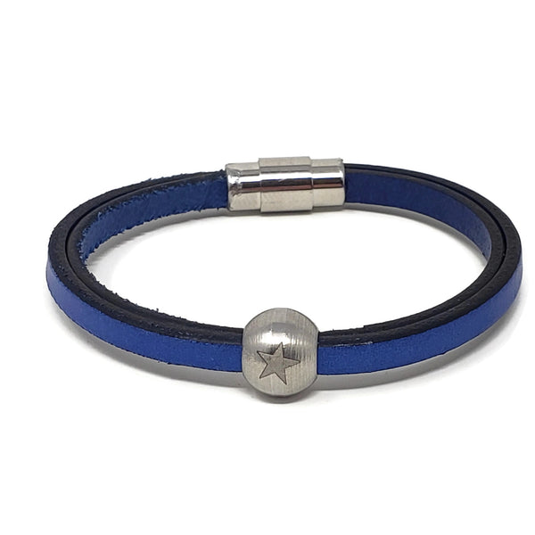 Blue Leather & Steel Star Bead Bracelet