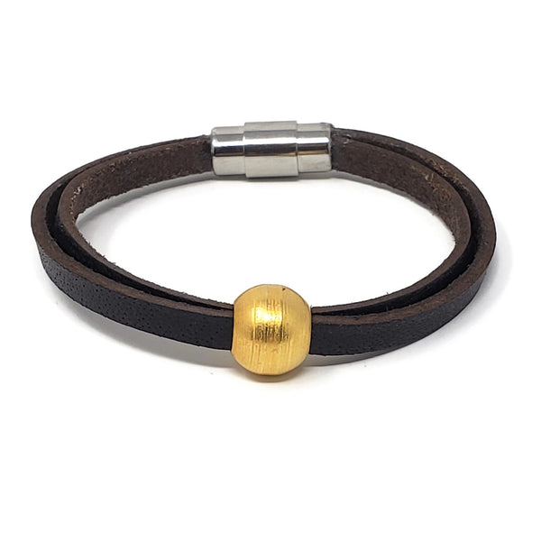18K Gold Steel Bead and Leather Bracelet