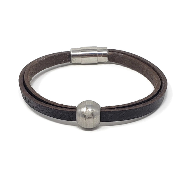 Steel Star Bead and Leather Bracelet