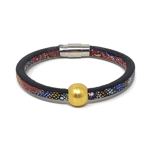 Euro Print Leather Gold Ball Bead Bracelet