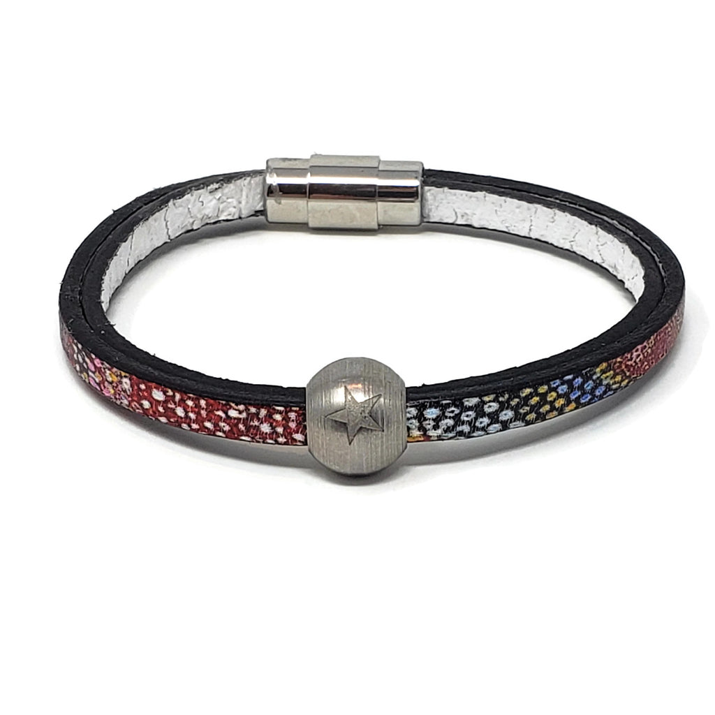 Euro Print Leather & Steel Star Bead Bracelet