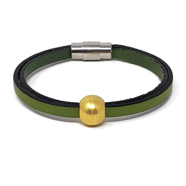 Green Leather Gold Ball Bead Bracelet