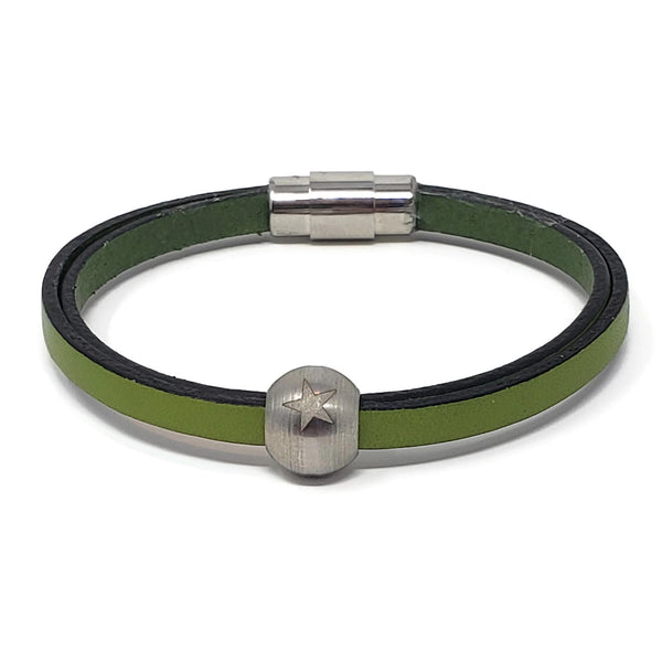 Green Leather & Steel Star Bead Bracelet