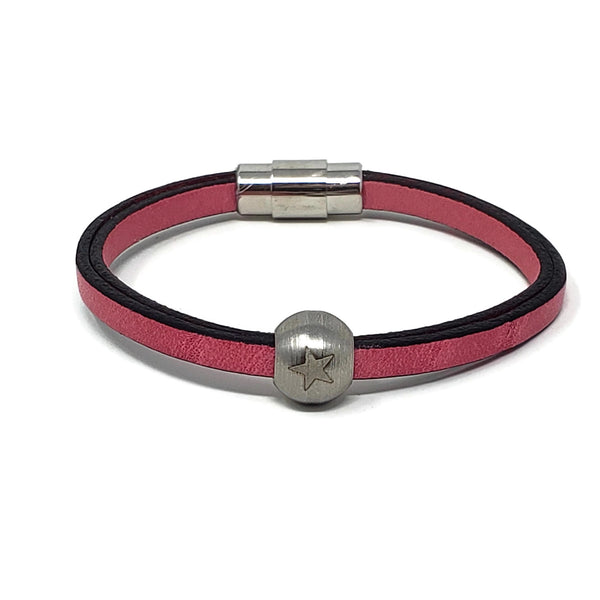 Pink Leather & Steel Star Bead Bracelet