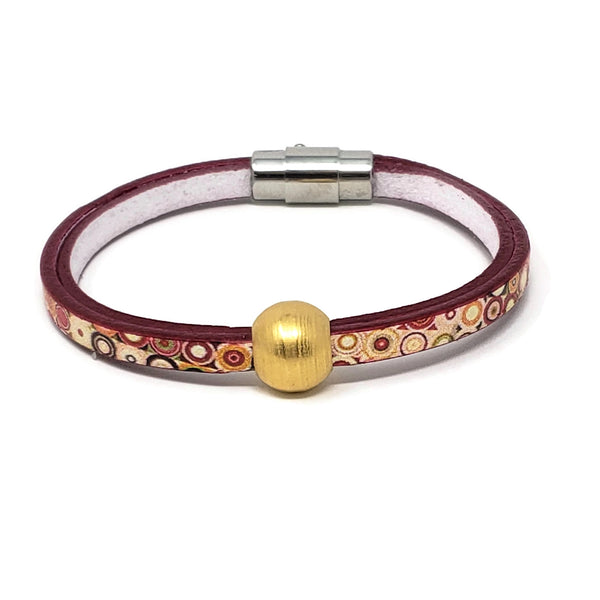 Polka Dot Leather Gold Bead Bracelet