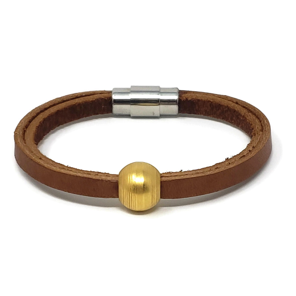 Tan Leather Gold Ball Bead Bracelet