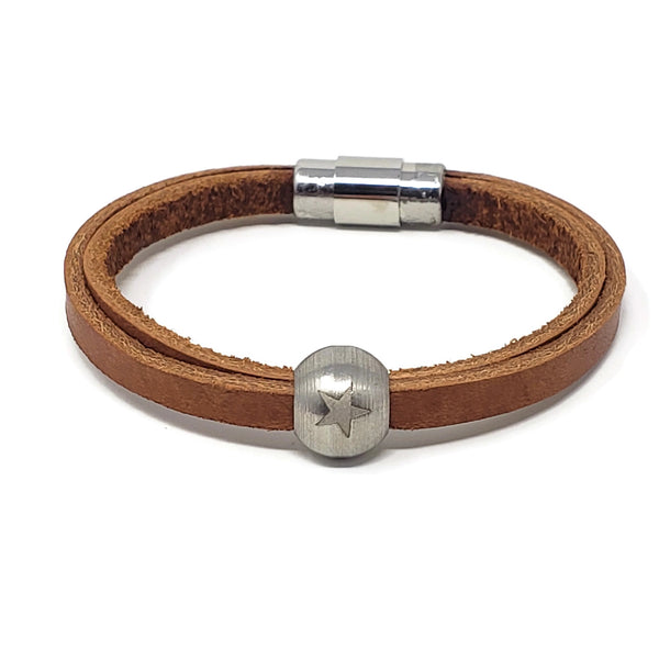 Tan Leather & Steel Star Bead Bracelet