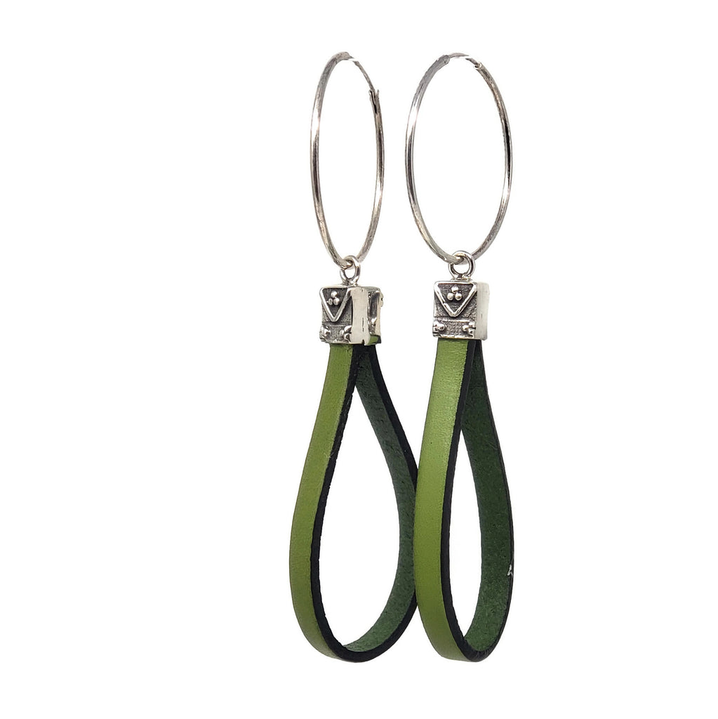 Green Leather Sterling Silver Hoop Earrings