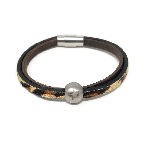 Leopard Print Leather & Steel Star Bead Bracelet