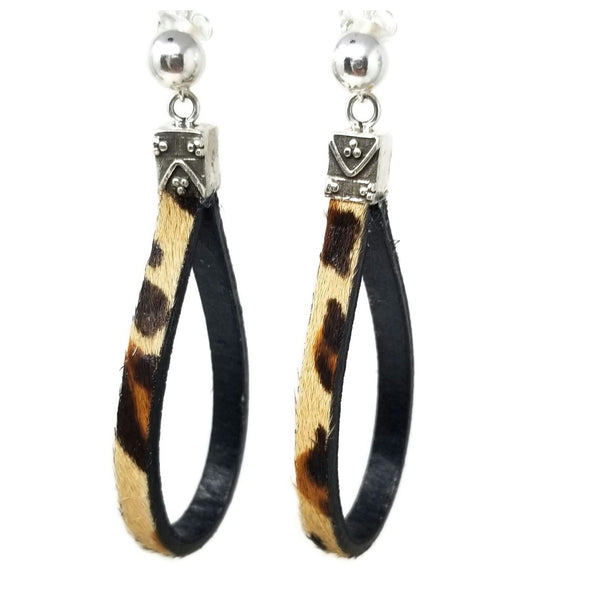 Leopard Leather Sterling Silver Earrings