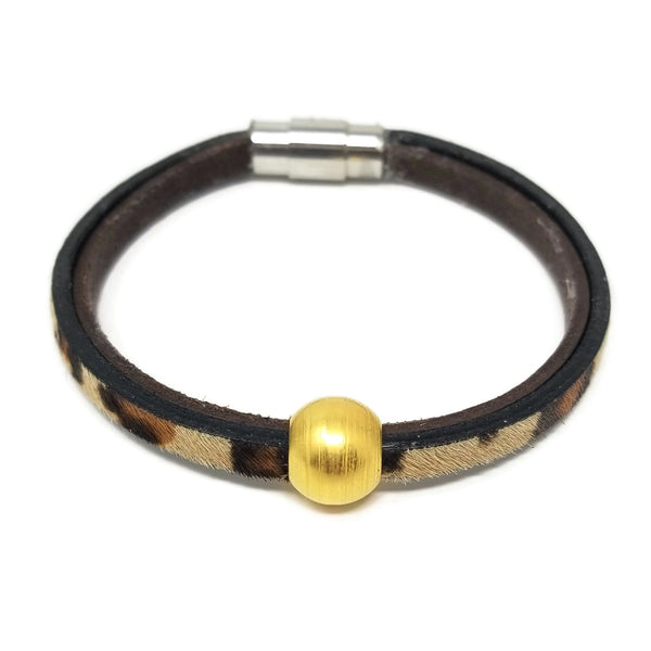 Leopard Print Leather & Steel 18K Gold Bead Bracelet