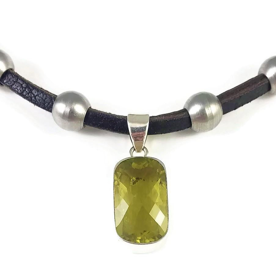 Citrine & Stainless Steel & Leather Necklace